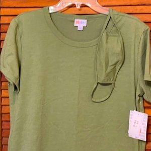 LuLaRoe L LIV solid olive green with Mask